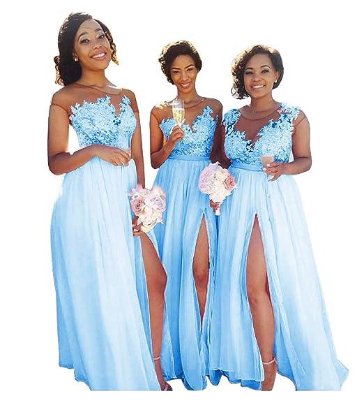 34ad79cfd6 Yilis Women's Illusion Neck A Line Chiffon Beach Bridesmaid Dress Lace Prom  Dress