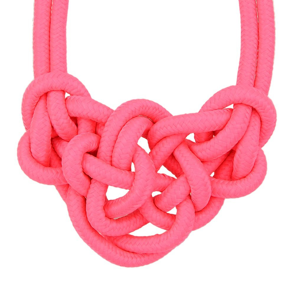 Feelontop® Knitted Rope Nylon Neon Necklace Collar Necklace for Women with Jewelry Pouch NC-3864-HOTPINK
