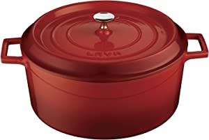 Lava Signature Enameled Cast-Iron Round Dutch Oven - 7 Quart, Cayenne Red