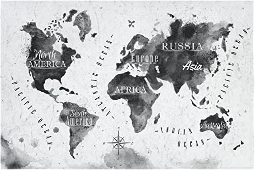 INTERESTPRINT Black and White Globe Art Home Decor Tapestries Wall Art, Earth World Map Tapestry Wall Hanging Art Sets 90 X 60 Inches