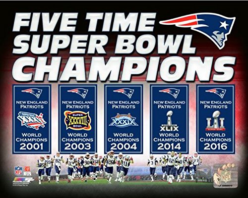 New England Patriots Five Time Super Bowl Champions Photo (Size: 8
