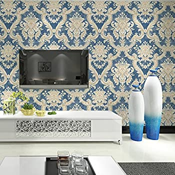 HaokHome DR3015 Non Woven Vintage Italian Damask Wallpaper Blue/Cream  Victorian Wall Paper For Living