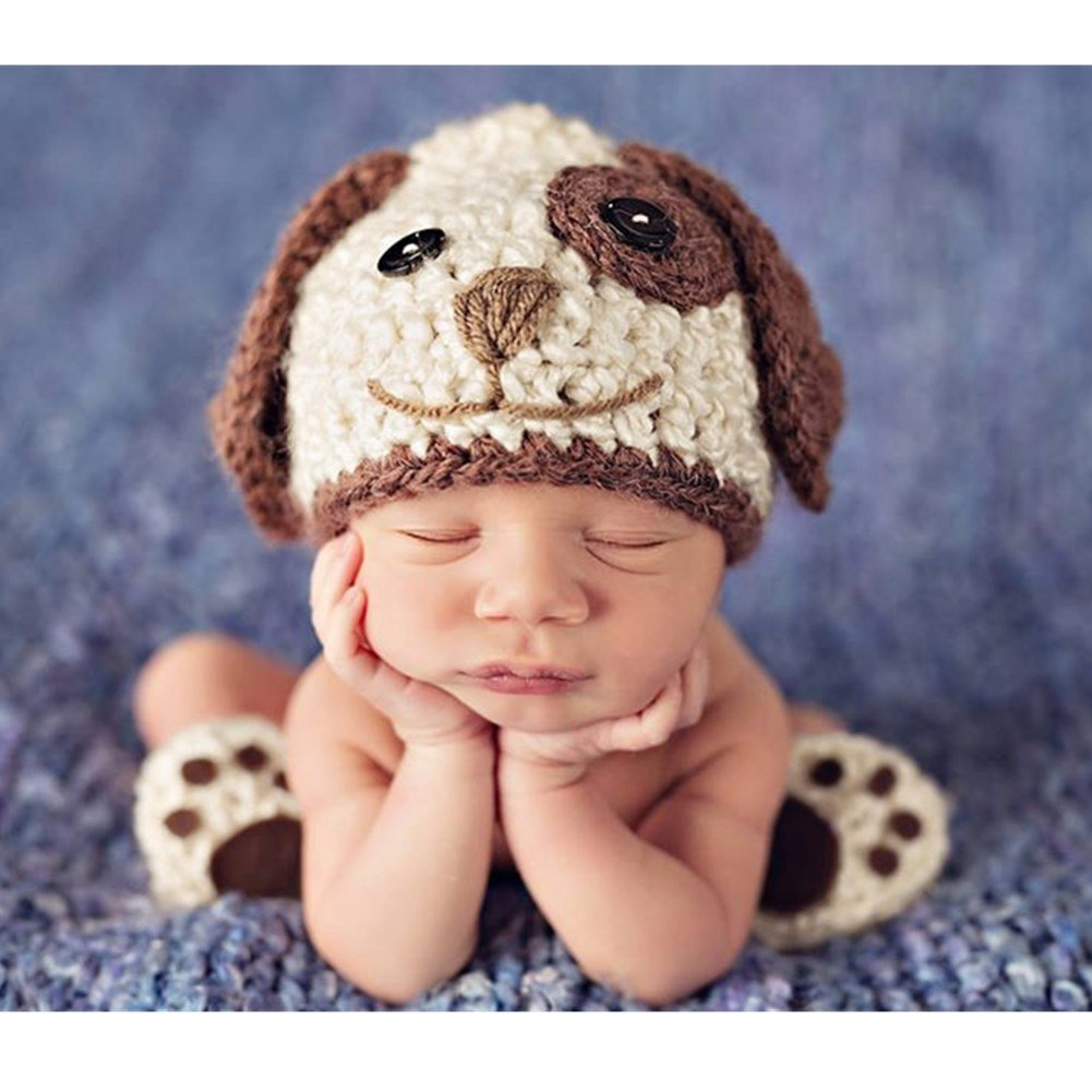 Baby Photography Props Photo Shoot Outfits Crochet Costume Infant Boy Girl Knitted Puppy Hats Shoes (Beige) by Zeroest (Image #2)