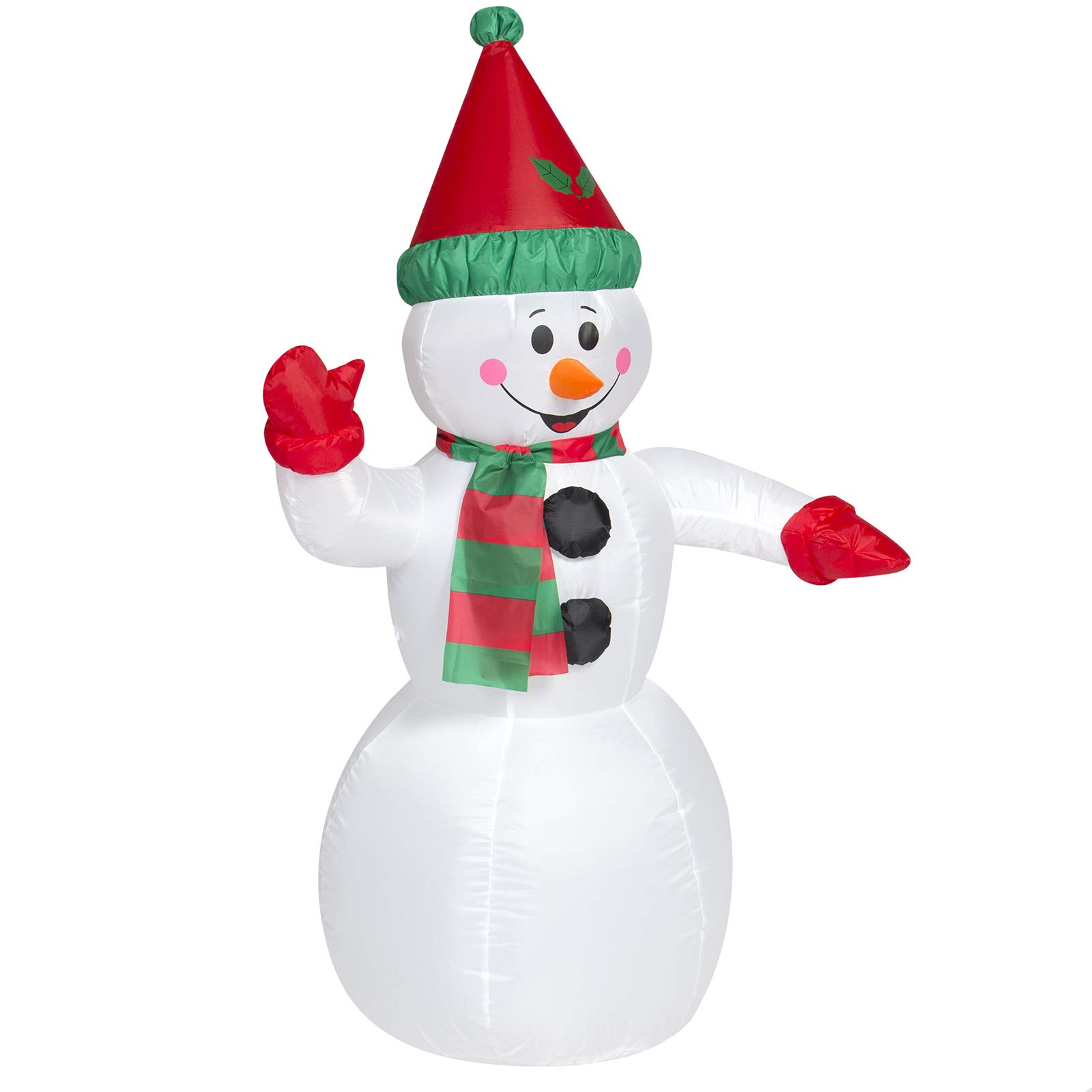 Best Choice Products 4ft Pre-Lit Inflatable Snowman Christmas Decor w/UL-Listed Blower, Lights, Ground Stakes - White