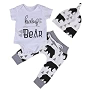 Infant Newborn Baby Bear Arrow Romper Pants Hat Outfits 3 Piece Unisex Clothes Sets (0-6 Months, Short Sleeve)