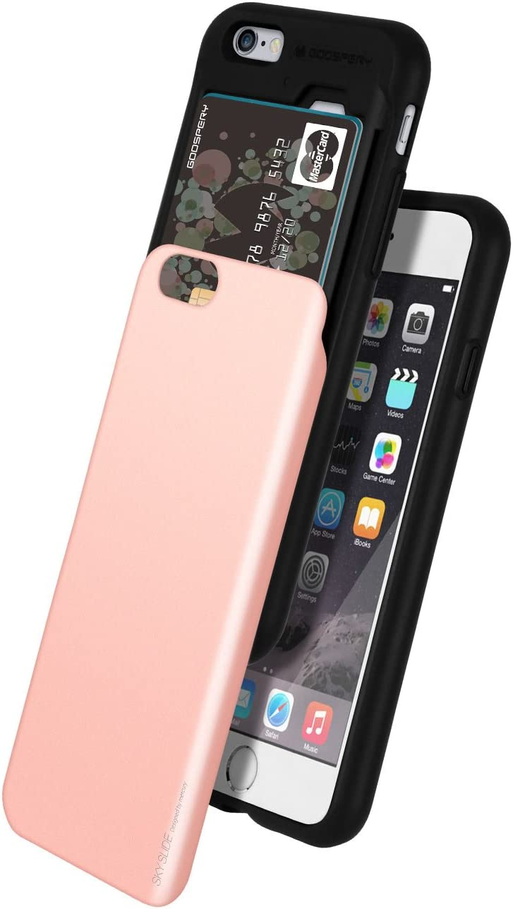 iPhone 6 Case, GOOSPERY [Sliding Card Holder] Protective Dual Layer Bumper [TPU+PC] Cover with Card Slot Wallet for Apple iPhone 6 (Rose Gold) IP6-SKY-RGLD