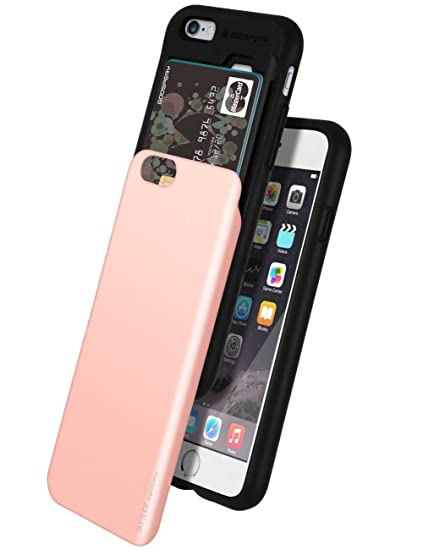 new style 4c8d4 97d4a iPhone 6 Case, GOOSPERY [Sliding Card Holder] Protective Dual Layer Bumper  [TPU+PC] Cover with Card Slot Wallet for Apple iPhone 6 (Rose Gold) ...