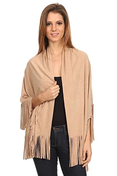 d0df80ab0ea4f LL Womens Open Front Poncho Vest Boho Wrap Fringe Vegan Faux Suede - Many  Style at Amazon Women s Clothing store
