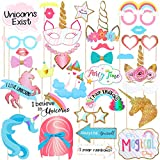 LUOEM Unicorn Photo Booth Props Unicorn Party Supplies Funny Rainbow Unicorn Pegasus Photo Props for Unicorn Baby Shower Birthday Party Decoration Favors Supplies 30-Pack