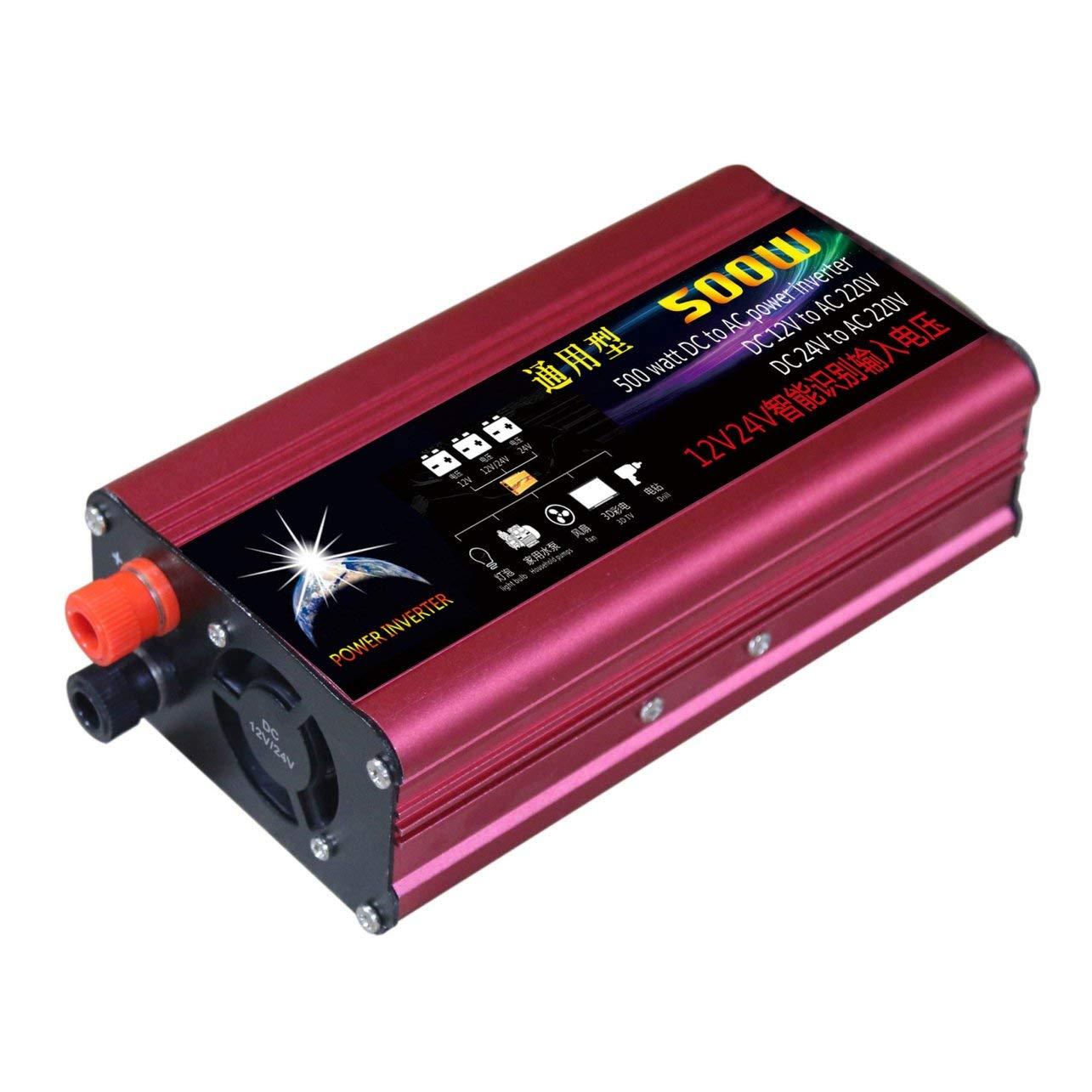 WOSOSYEYO 1000W Power Inverter 12V / 24V à 220V Automobile onduleur Alimentation Voiture