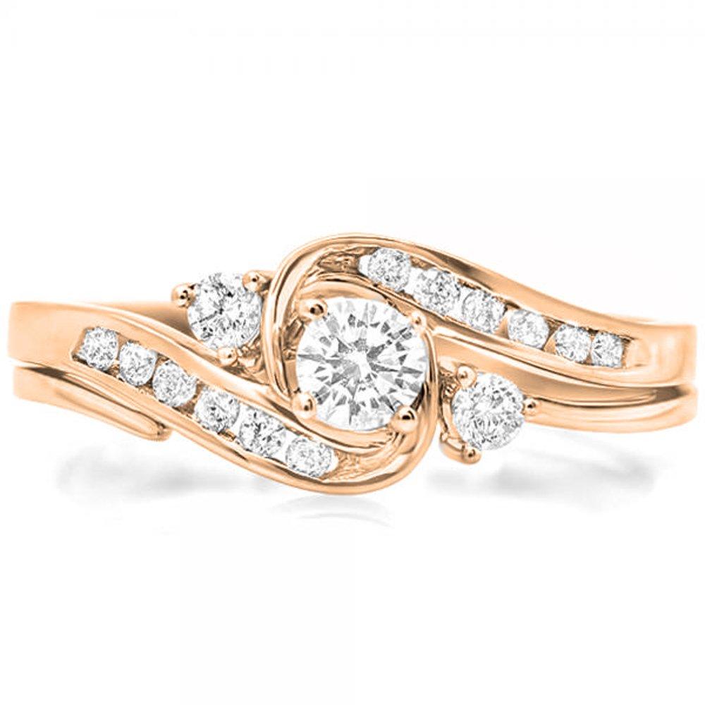 0.50 Carat (ctw) 14K Rose Gold Diamond Ladies Swirl Bridal Engagement Ring Set 1/2 CT (Size 7)