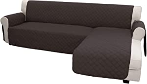 Easy-Going Sofa Slipcover L Shape Sofa Cover Sectional Couch Cover Chaise Lounge Cover Reversible Sofa Cover Furniture Protector Cover for Pets Kids Children Dog Cat (X-Large, Chocolate/Chocolate)