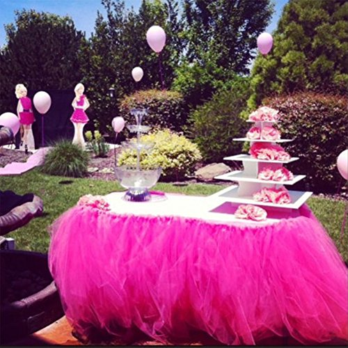 Handmade Tutu Tulle Table Skirt for Princess Party Table Wedding Head Bridal Decor Tableware Lace Tablecloth for Halloween Parties Spooky Meals (Halloween Party Meal)