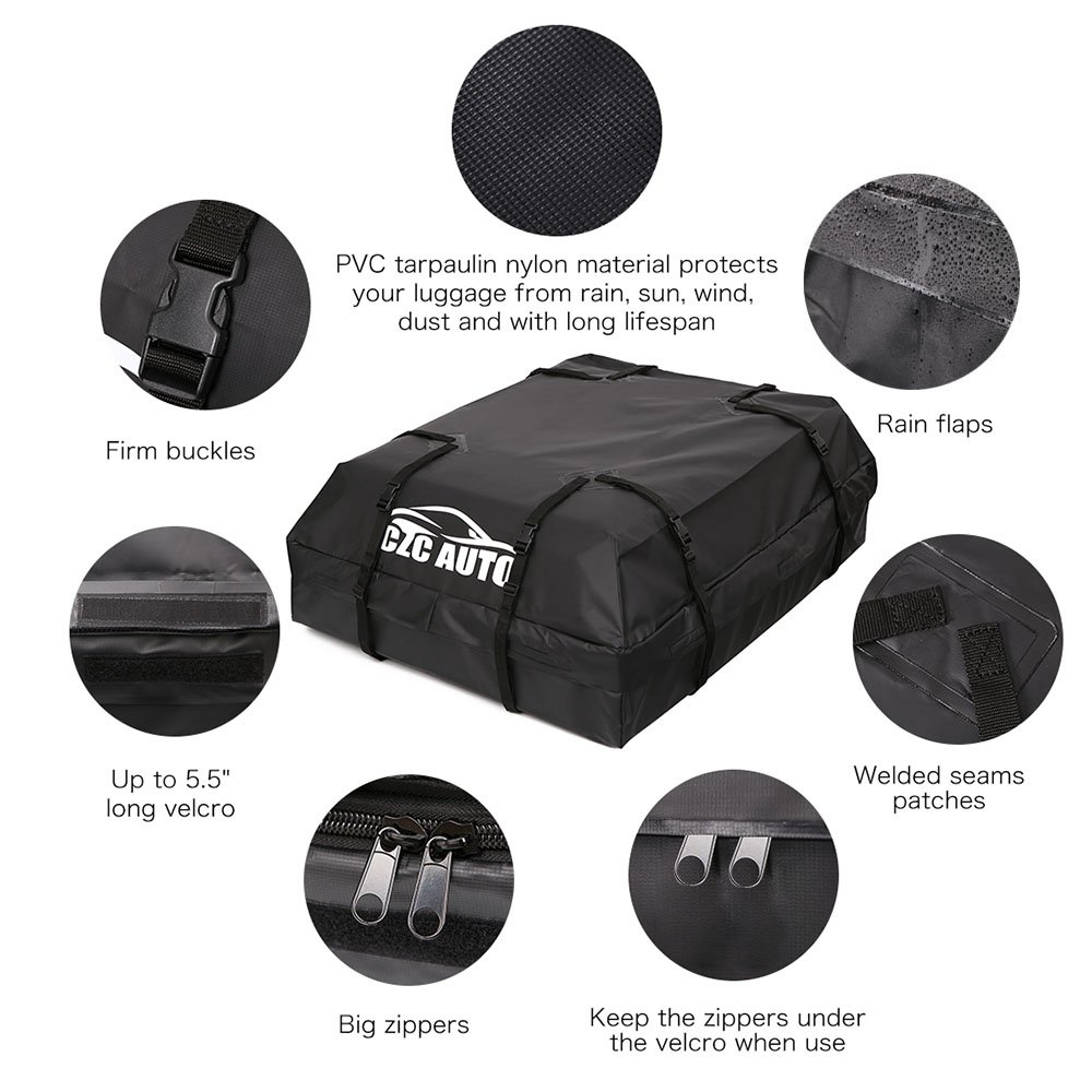 CZC AUTO Car Roof Cargo Carrier, 15 cu. ft Waterproof/Rainproof/Weatherproof Rooftop Storage Bag for Car SUV Van Sedan with Roof Rail Cross Bar Basket or Rack, Soft, Black by CZC AUTO (Image #4)