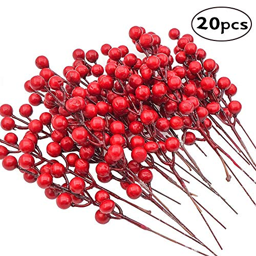 FUNARTY 20 pcs Christmas Red Berry Picks Artificial Red Berries Stems for Christmas Holiday Crafts
