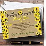 Rustic Sunflowers Vintage Personalized Wedding Thank You Cards