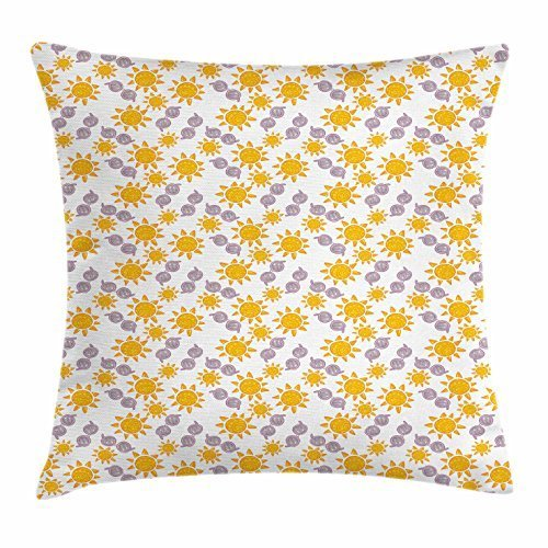 - FunnyLife Sun Throw Pillow Cushion Cover, Summer Season Illustration with Sunglasses Doodle Style Star Pattern, Decorative Square Accent Pillow Case Marigold Pale Pink Warm Taupe