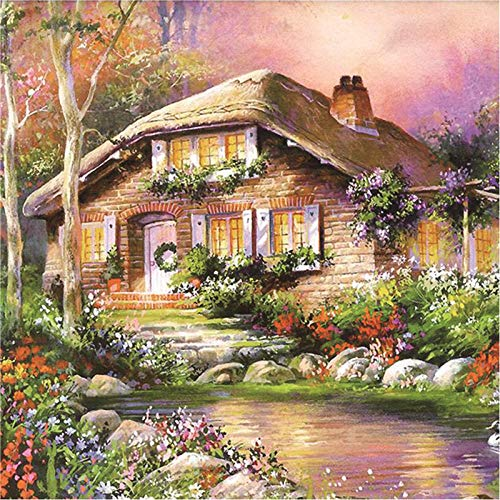 WEREWTR Full Diamond Round Diamond Painting Garden Cottage European Bedroom Landscape Stick Drill Cross Stitch 5060cm