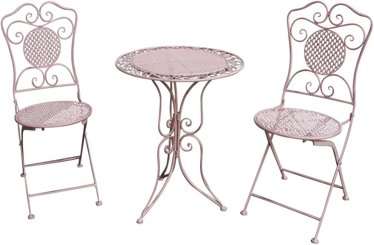Muebles de jardín Mesa de jardín Dos sillas Rosa Hierro Estilo Antiguo