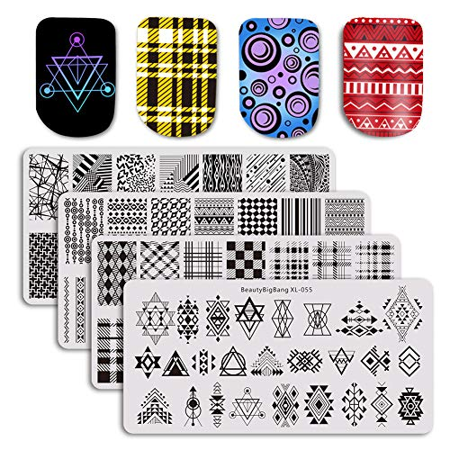 BEAUTYBIGBANG 4Pcs Nail Stamping Plate Geometric Theme - Plaids Stripe Shape Splice Image Plate Nail Art Design Stamping Kits Manicure Template set