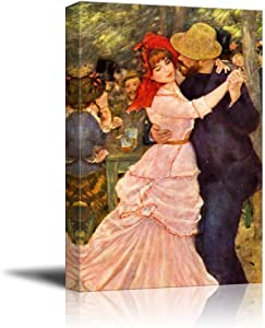 """Dance at Bougival by Pierre Auguste Renoir Famous Fine Art Reproduction World Famous Painting Replica on ped Print Wood Framed - Canvas Art Wall Art - 16"""" x 24"""""""
