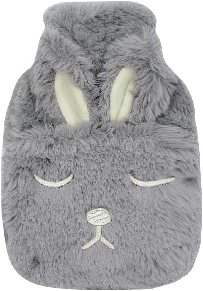 0.75 Liter Thick Rubber Hot Water Bottle Soft Warm Water Bag with Plush Fleece Cover, Cute Rabbit Print Hand Feet Belly Warmer