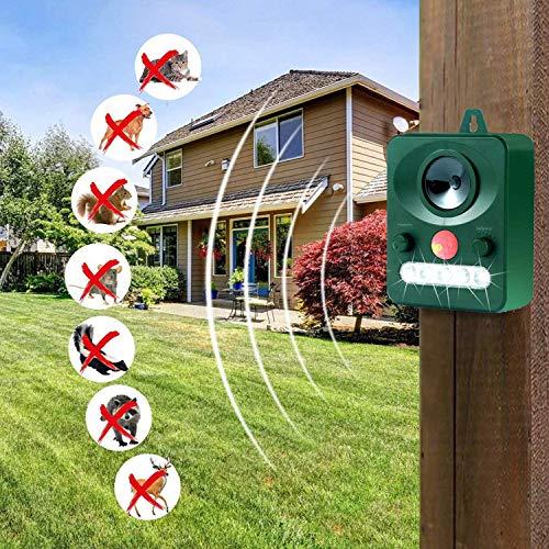 Wonninek Solar Animal Ultrasonic LED Flashing Waterproof Pest Repeller with Sensor, Cats, Skunks, Rodents
