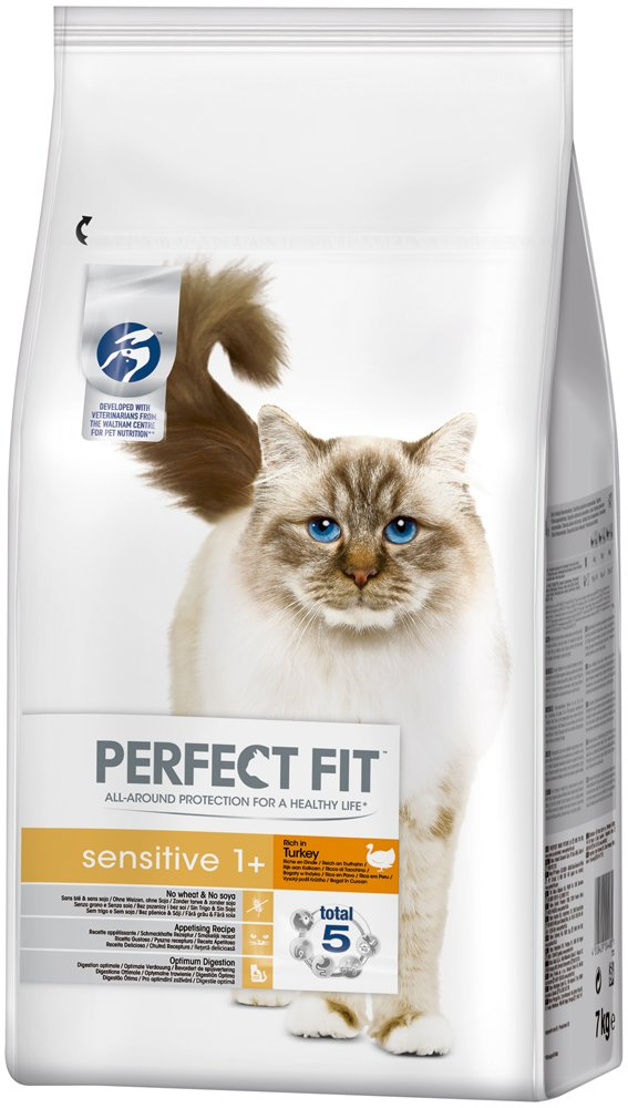 PERFECT FIT Cat Food Dry Dog Food Sensitive Rich in Turkey For Sensitive Cats 1 + (1 Box (15 Pounds)