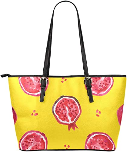 Ladies Tote Sweet Creative Red Fruit Pomegranate Leather Hand Totes Bag Causal Handbags Zipped Shoulder Organizer For Lady Girls Womens Large Zippered Tote