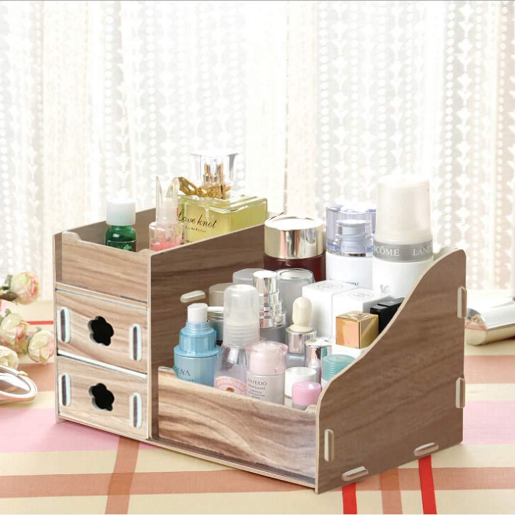 Dolland Makeup Organizer Countertop Cosmetic Storage Drawers Jewelry Display Box Bathroom Bedroom Accessories,Wood