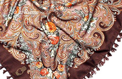 Russisches iDA foulard avec franges et fleurs, élégante et de qualité-couleur :  marron