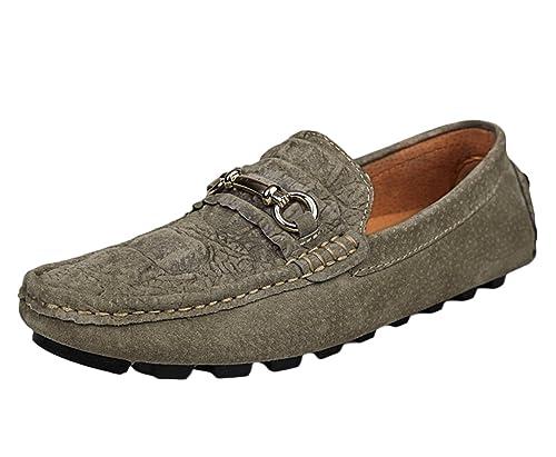 SK Studio Hombre Mocasines de Cuero Loafers Calzado Suave Zapatos de Conducción con Textura del Cocodrilo: Amazon.es: Zapatos y complementos