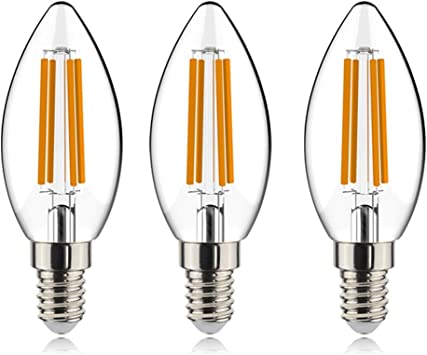 helloify B11 Dimmable Vintage LED Edison Candelabra Bulb, 60W Equivalent, High Brightness, Warm White 2700K, Clear Glass, Candles/Chandelier Style, E12 Screw Base, 3 Pack