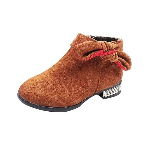 Botas Niña Invierno K-youth Botines de Bowknot con Cremallera para Niña Botas de Nieve Niñas Niños Caliente Zapatos Martin Boots Zapatos Boda Niña Zapatos ...