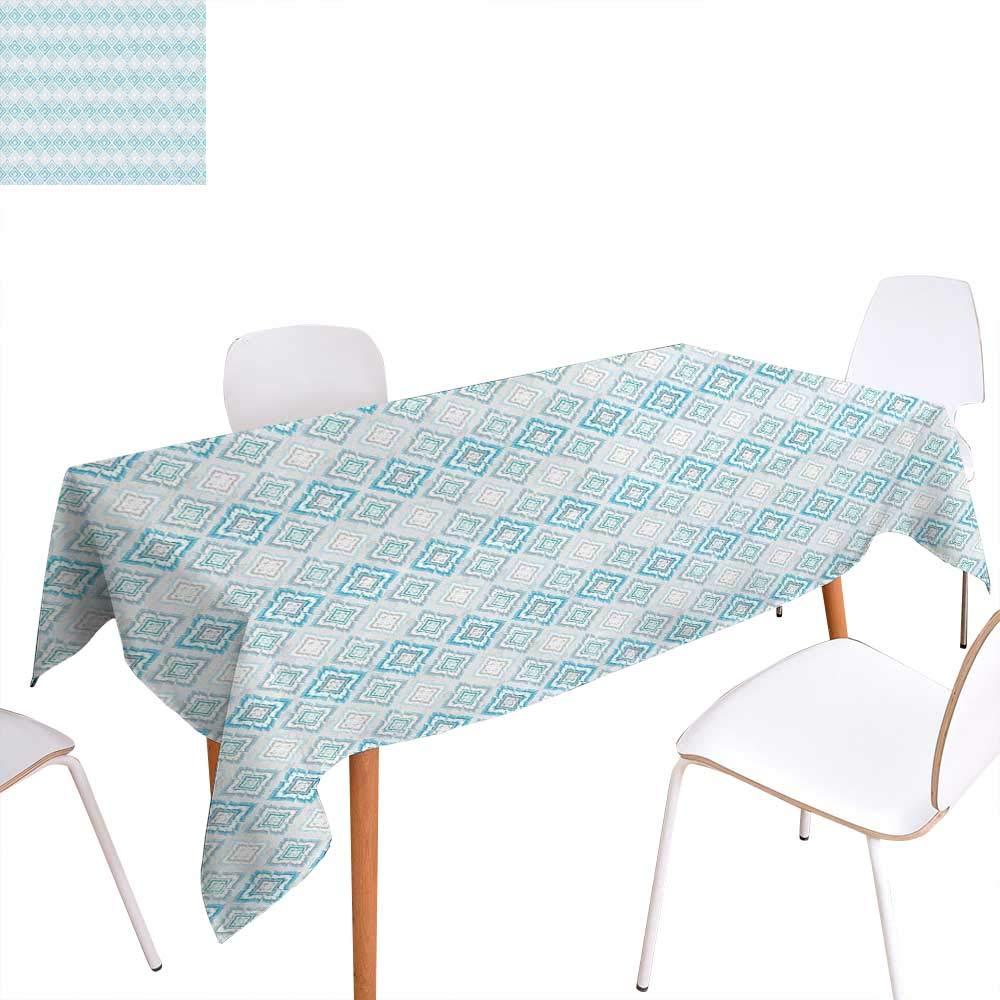 familytaste Ikat 洗えるテーブルクロス グランジルック トライバル 抽象模様 カービー形状 幾何学デザイン 防水テーブルクロス オレンジマリゴールドホワイト W50