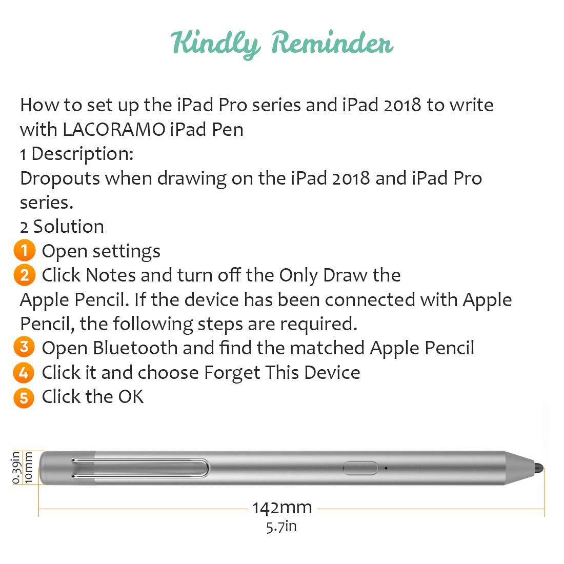 LACORAMO Penna Stilo per Serie iPad CE/&FCC Certificata Matita Digitale Ricaricabile con di Punta AggiornatA 40 Ore di Autonomia Spegnimento Automatico in Standby per 30 Giorni Versione Aggiornata