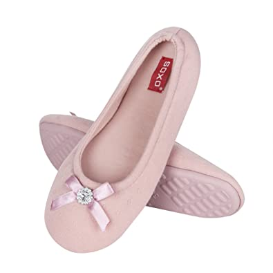 07c14a623f soxo Ladies Ballerina House Slippers with Bow and Diamond