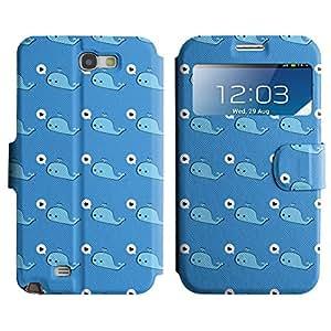 LEOCASE Ballena Azul Funda Carcasa Cuero Tapa Case Para Samsung Galaxy Note 2 N7100 No.1000641