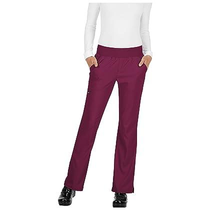 222c8dc781d KOI Basics Women's Laurie Flare Leg Knit Waist Yoga Scrub Pant Xx-Large  Petite Wine