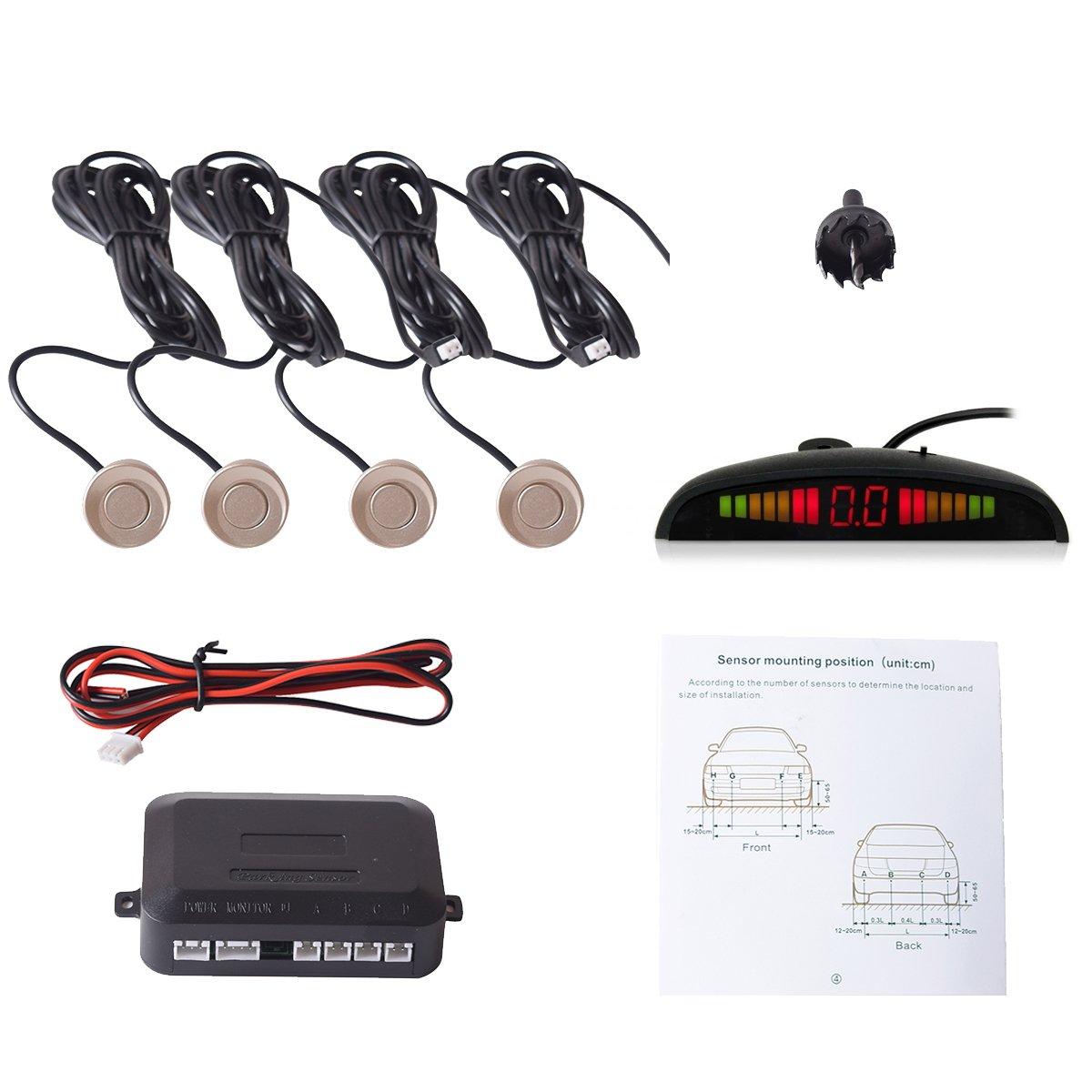 LED Aparcamiento Radar Reverso con 4 Sensores Azul Asistentes de Aparcamiento Sistema de Aparcamiento con Radar