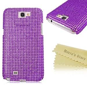 Mavis's Diary New 3D Handmade Luxury Crystal Diamond Cover Hard Case for Samsung Galaxy Note 2 N7100 with Soft Clean Cloth(Purple)