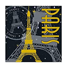 Club Pack of 192 Black, Gray and Yellow Paris Theme Party Disposable 2-Ply Beverage Napkins
