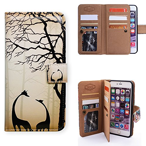 Black Giraffe Wallet - Bfun Packing iPhone 7 Plus Case,Bcov Black Giraffe Style Multifunction 9 Card Slots Wallet Leather Case Cover For iPhone 7 Plus