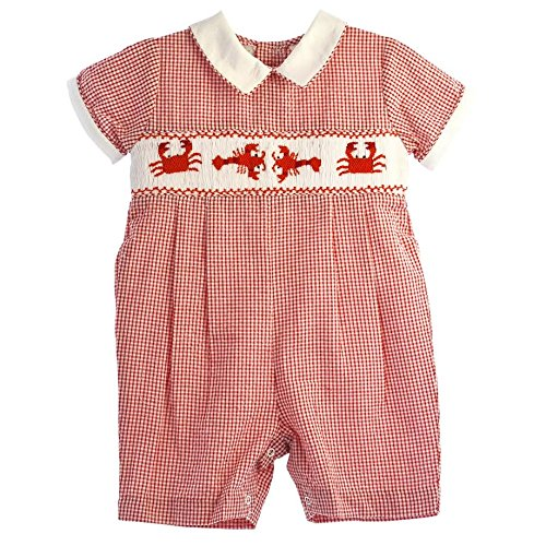 Carriage Boutique Baby Boys Red Gingham Plaid Romper - Hand Smocked with Crabs - Crab Boutique