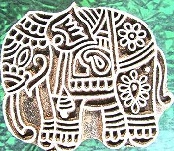 07db7e523ff7 Elephant Design Wooden Printing Block Henna Block Scrapbook Home Decorative  Art  Amazon.in  Home   Kitchen