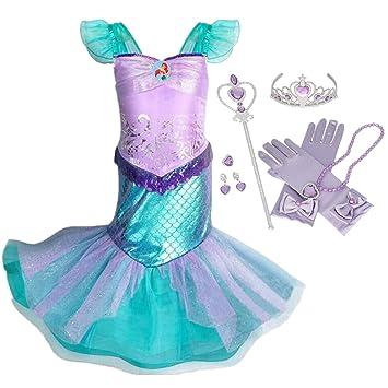 IWFREE Vestido Disfraz de Sirena Traje para Niña, Disfraz Ariel Princesa Infantil de Princesa Brillante Larga Manga con Cola de Cosplay Fiesta ...