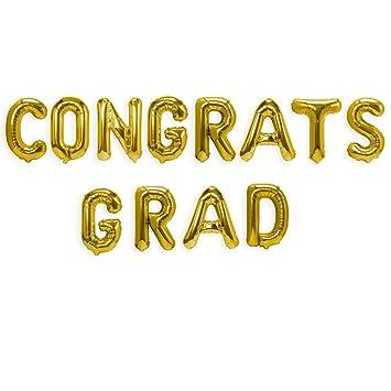 Amazon.com: TTCOROCK CONGRATS GRAD Balloon Gold Letter Balloons ...