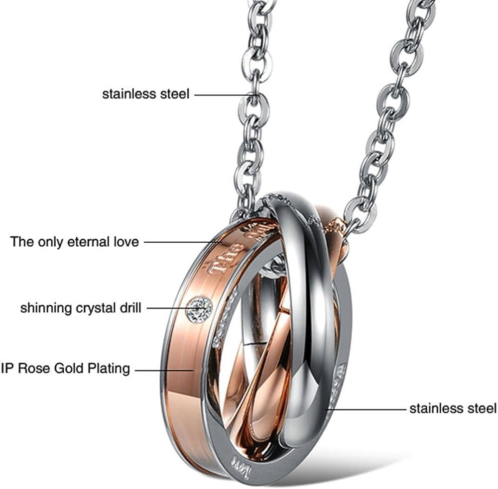 Onefeart Stainless Steel Pendant Necklace for Women Men Round Zircon Three Rings Interlocking Design