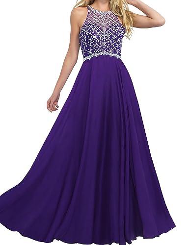 LovingDress Women's Prom Dress Chiffon Beaded Bodice A Line Long Evening Dress