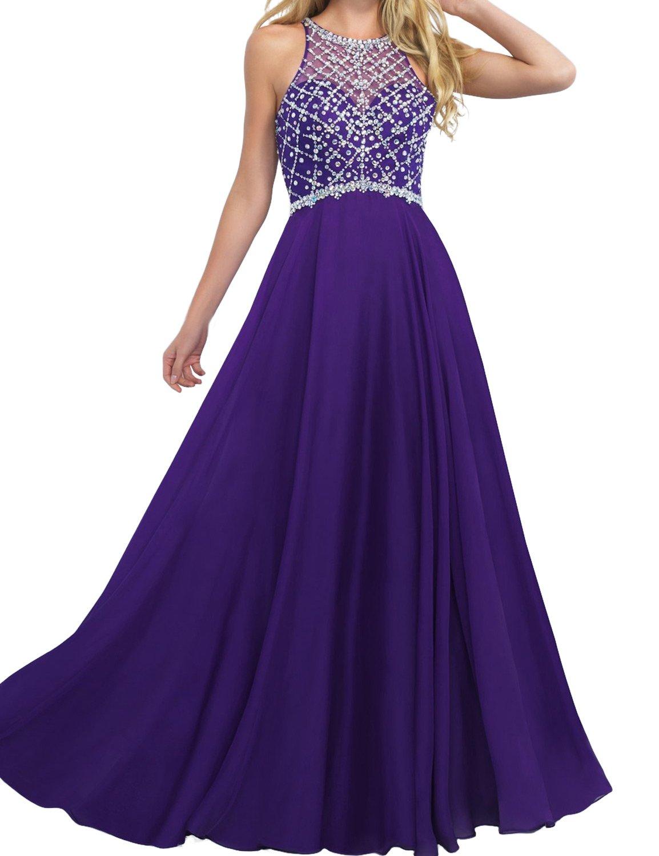 LovingDress Women's Prom Dress Chiffon Beaded Bodice A Line Long Evening Dress Size 8 US Purple